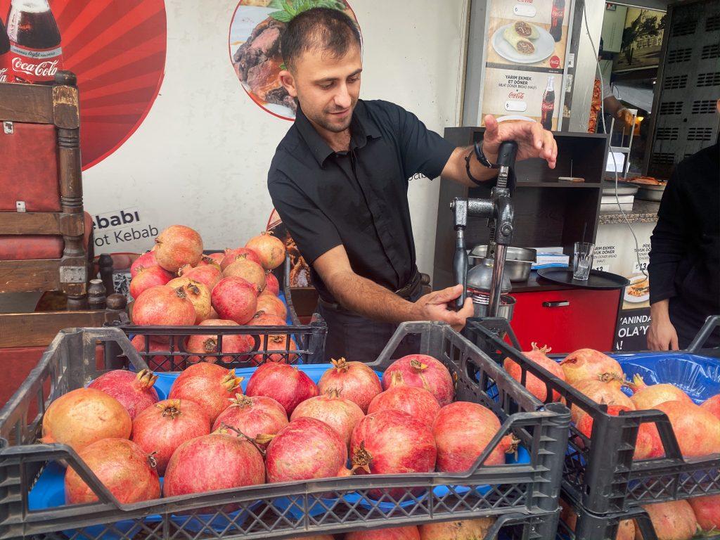 Turkish street food pomegranate juice