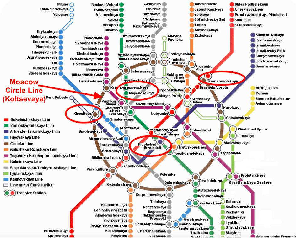 Moscow metro map english