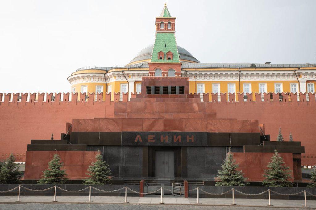Red square Lenin Mausoleum